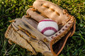 Baseball game mitt and ball