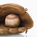 Baseball in glove. Royalty Free Stock Photo