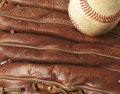 Baseball on glove Royalty Free Stock Image