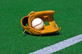 Baseball glove and ball on the field laying in green stadium Royalty Free Stock Photography