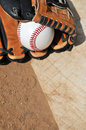 Baseball glove and home plate Royalty Free Stock Image