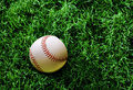 Baseball on grass Stock Photo