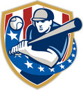 Baseball hitter batting stars stripes retro illustration of a american player batter holding bat set inside crest shield shape Stock Image