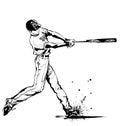 Baseball hitter Swinging