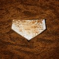 Baseball Homeplate in Brown Dirt for Sports American Past Time Royalty Free Stock Photo