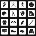 Baseball icons set squares vector