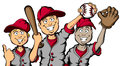 Baseball kids vector cartoon of a group of children ready to play Stock Photos
