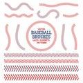 Baseball laces set. Baseball seam brushes. Red and blue stitches