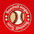 Baseball league over red background vector illustration Stock Photo