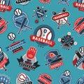 Baseball logo badge seamless pattern background sport club team vector. Royalty Free Stock Photo