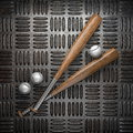 Baseball and metal wall background Royalty Free Stock Photography