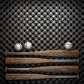 Baseball and metal wall background Stock Photography