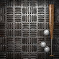 Baseball and metal wall background Stock Image