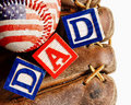 Baseball with mitt and the word Dad Stock Photo
