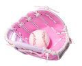 Baseball in pink female glove isolated on white Royalty Free Stock Photo