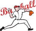 Baseball Pitcher Player Cartoon Royalty Free Stock Photography