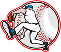 Baseball pitcher throw ball cartoon illustration of an american player outfielder throwing isolated on white background done in Royalty Free Stock Photo