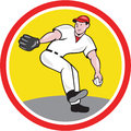 Baseball pitcher throw ball cartoon illustration of an american player outfilelder throwing isolated on white background set Stock Photos