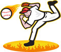 Baseball pitcher throwing ball on fire illustration of a american player outfielder isolated white background Royalty Free Stock Photography