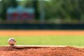 Baseball on pitchers mound a with field in background Royalty Free Stock Image