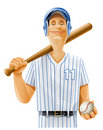 Baseball player with bat and ball Stock Photography