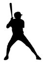 Baseball player with bat shadow white background Stock Photography