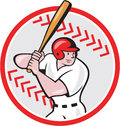 Baseball Player Batting Ball Cartoon Royalty Free Stock Image