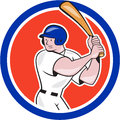 Baseball player batting circle side cartoon illustration of an american batter hitter with bat done in style set inside isolated Royalty Free Stock Photos