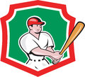 Baseball player batting crest cartoon illustration of an american batter hitter with bat set inside shield done in style isolated Royalty Free Stock Photo