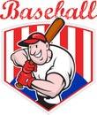 Baseball Player Batting Diamond Cartoon Stock Photo