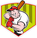 Baseball Player Batting Diamond Cartoon Royalty Free Stock Photography