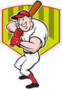 Baseball Player Batting Diamond Cartoon Royalty Free Stock Photos