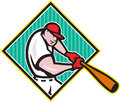 Baseball player batting diamond cartoon illustration of a american batter hitter with bat inside shape done in style isolated on Stock Photography