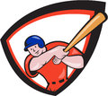 Baseball player batting front shield cartoon illustration of an american batter hitter with bat set inside crest done in style Royalty Free Stock Photos