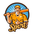 Baseball player vector logo championship champion or sport icon holding a bat in his hand illustration Royalty Free Stock Images