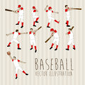 Baseball players over lineal background vector illustration Royalty Free Stock Image
