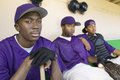 Baseball players sitting in dugout portrait of Royalty Free Stock Photo