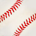 Baseball with red stitches closeup Royalty Free Stock Images
