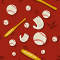 Baseball Seamless Pattern Stock Image