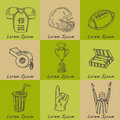 Baseball set background. Sketches of various stylized baseball icons, baseball equipment, baseball icons, baseball field, ball, mi Royalty Free Stock Photo