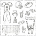 Baseball set background. Sketches of various stylized baseball icons, baseball equipment, baseball icons, baseball field, ball, mi Royalty Free Stock Photo