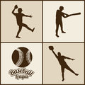 Baseball silhouettes over beige background vector illustration Stock Photography