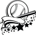 Baseball or Softball With Pennant & Stars Design Stock Images
