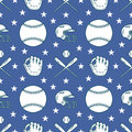Baseball, softball sport game vector seamless pattern, background with line icons of balls, gloves, bat, helmet. Linear Royalty Free Stock Photo