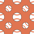 Baseball, softball sport game vector seamless pattern, background with line icons of balls. Linear signs for Royalty Free Stock Photo