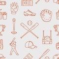 Baseball, softball sport game vector seamless pattern, background with line icons of balls, player, gloves, bat, helmet