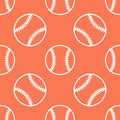 Baseball, softball sport game vector seamless pattern, orange background with line icons of balls. Linear signs for