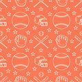 Baseball, softball sport game vector seamless pattern, orange background with line icons of balls, player, gloves, bat