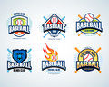Baseball sport badge logo set. Design template and some elements for logos, badge, banner. T-shirt screen and printing.