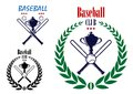 Baseball sport club emblem retro with laurel wreath bat trophy cup and ball for team symbol sporting or leisure design Stock Images